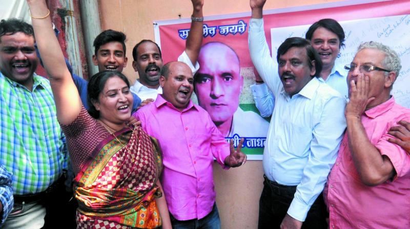 Kulbhushan Jadhav's friends and relatives after the ICJ verdict in Mumbai. (Photo: Debasish Dey)