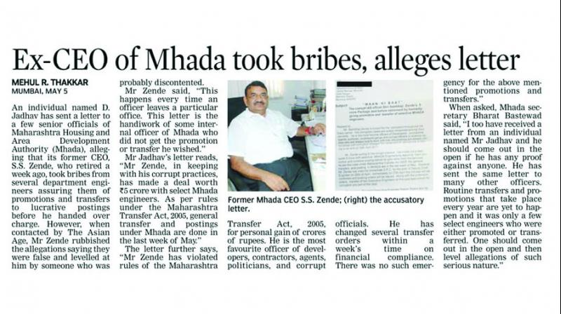 The Asian Age had reported on May 6 about a letter to a few officials of Mhada.