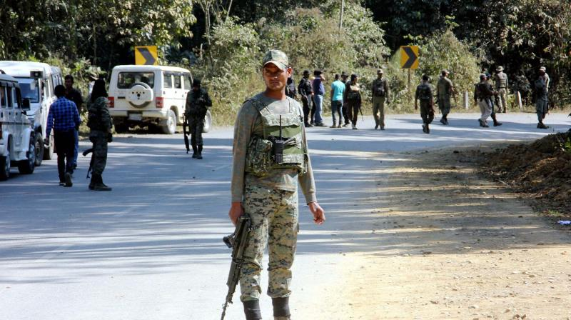 Indian army operation close to the ambush site where 2 Assam Rifles troopers were killed three other injured in a militant attack near Jagun in Tinsukia district, Assam. (Photo: AP)