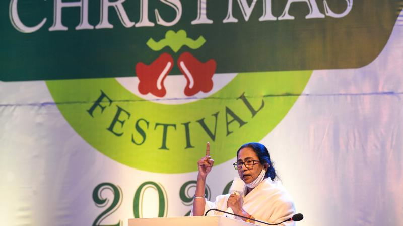 West Bengal Chief Minister Mamata Banerjee addresses during an event on Christmas celebrations, in Kolkata, Monday, December 21, 2020. (PTI /Ashok Bhaumik)