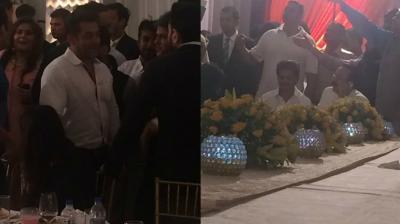 Salman Khan and Shah Rukh Khan snapped at the party.