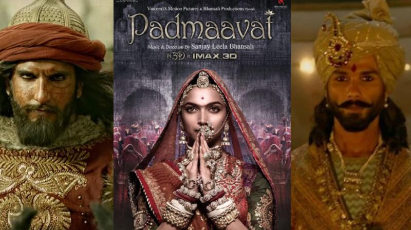 Ranveer Singh and Shahid Kapoor in a still from 'Padmaavat', Deepika Padukone on the poster.