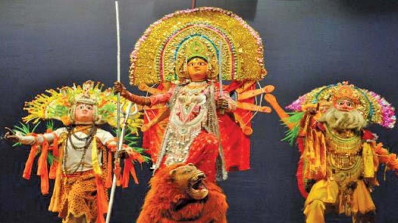 Dancers portray Goddess Durga at the Summer Ballet Festival in New Delhi.
