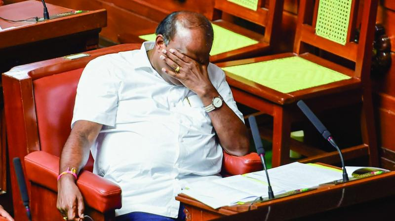 Karnataka chief minister H.D. Kumaraswamy during the vote of confidence in Assembly Session at Vidhana Soudha in Bengaluru on Tuesday. (Photo: PTI)