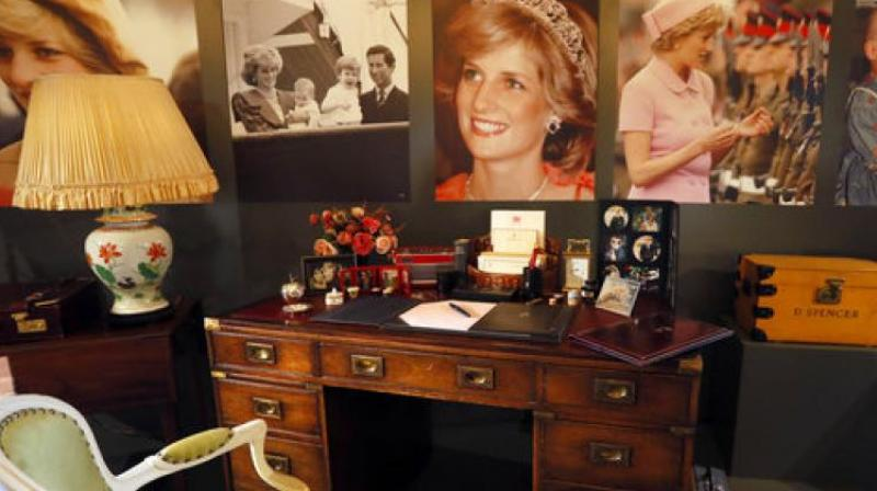 Display to mark the 20th anniversary of the death of Britain's Diana, Princess of Wales, a recreation of the desk where Princess Diana worked in her Sitting room at Kensington Palace, on display at Buckingham Palace in London, Thursday, July 20, 2017. (Photo: AP)