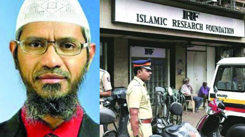 File photo of televangalist Zakir Naik and police outside his office in Dongri, Mumbai. (File photo)