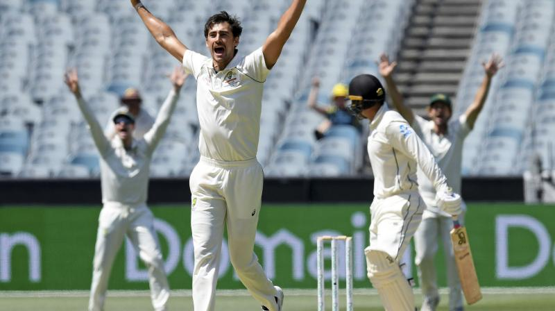 New Zealand were reeling at 27-4 and heading for another heavy defeat with Australian bowlers Mitchell Starc and Nathan Lyon among the wickets in the third Test on Monday. (Photo:AP)