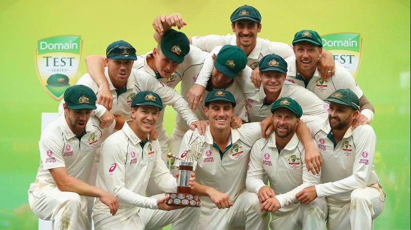 Australia closed out its home test season in emphatic fashion by crushing New Zealand by 279 runs in the third test and completing a 3-0 series sweep over the International Cricket Council's No. 2-ranked Test team. (Photo:AFP)