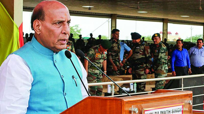 "Defence minister Rajnath Singh's warning about the possible revision of ""no first use"" as a part of Indian nuclear doctrine could not have come at a more opportune moment. (Photo: PTI)"