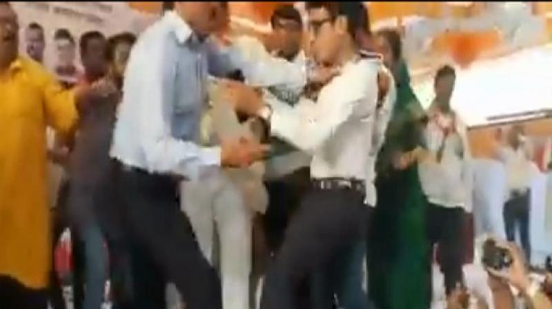 The incident occurred during a joint rally of the BJP and its ally Shiv Sena. (Photo: Screengrab)
