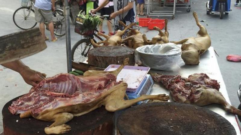 A vendor chops dog meat for sale at a market ahead of a dog meat festival in Yulin. (Photo: AP)