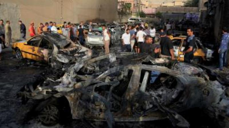 Two bombed-out cars were visible to one side of the square, which was strewn with debris. (Photo: Representational/File)