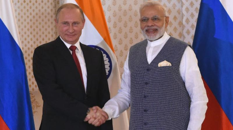 Indian PM Narendra Modi with Russia President Vladimir Putin. (Photo: AFP)