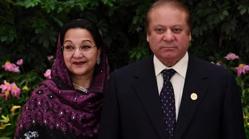 Pakistan's ousted Prime Minister Nawaz Sharif (R) and Kalsoom, his wife. (Photo:AFP)
