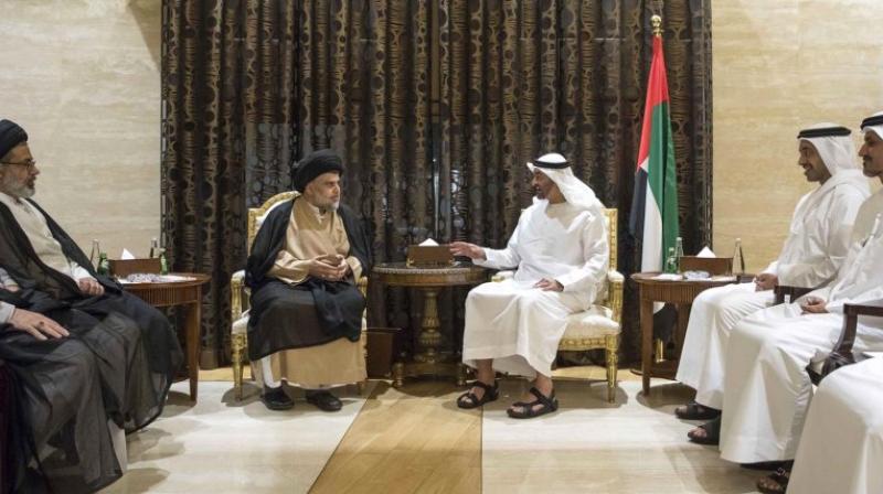 Sheikh Mohamed bin Zayed al-Nahyan, Crown Prince of Abu Dhabi and Deputy Supreme Commander of the UAE Armed Forces, meeting with Iraqi Shiite leader Moqtada al-Sadr in Abu Dhabi. (Photo: AP)