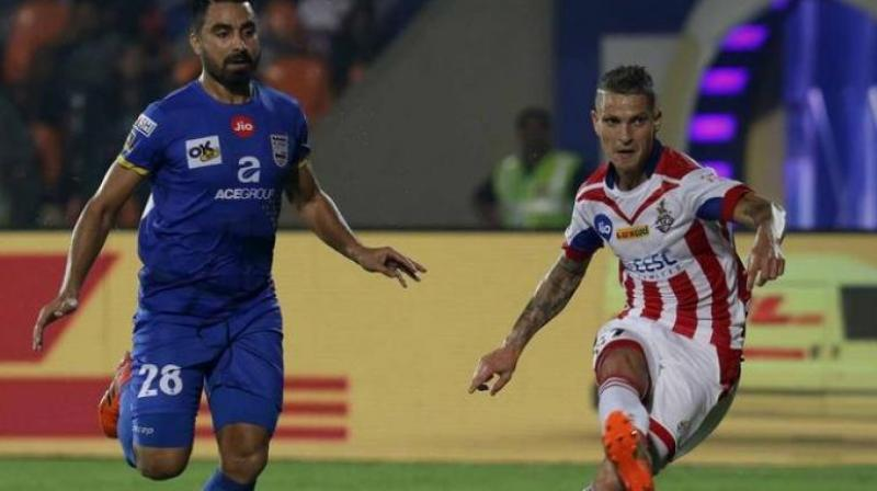 It was a goal by Portugese Zequinha which eventually won the match for the Kolkata team, lifting them off the bottom spot. (Photo: Indiansuperleague.com)