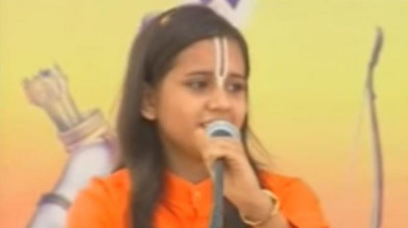 The remarks made by Sadhvi Saraswati on Wednesday evening triggered a sharp reaction from the Congress. (Photo: Youtube   Screengrab)