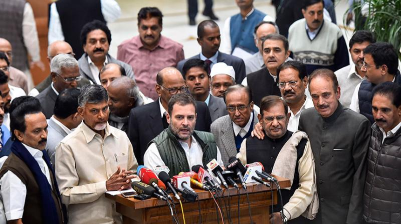 Senior leaders of 21 opposition parties including the Congress, Trinamool Congress, TDP, AAP, NCP and the DMK. (Representational Image/PTI)