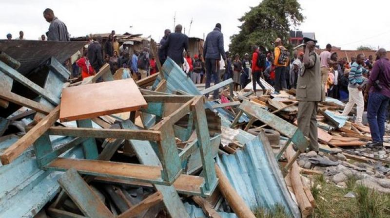 Debris of a collapsed school classroom in Nairobi. (Photo: ANI)