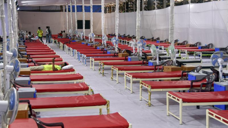 A quarantine center with 300 beds set up for treating COVID-19 patients during the ongoing nationwide lockdown, at Nagpada area in Mumbai. (PTI)