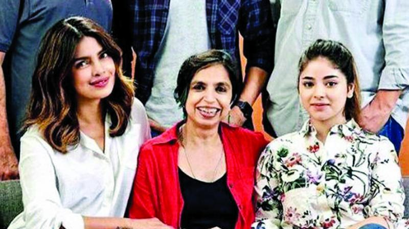 Zaira Wasim with her Sky Is Pink co-star Priyanka and director Shonali Bose.