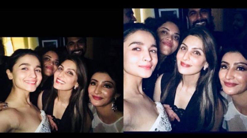 Alia Bhatt and Riddhima Kapoor Sahni at Kaajal Anand's party.