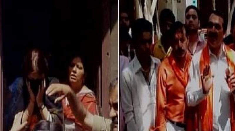 Hindu Yuva Vahini activists on Wednesday assaulted a couple on suspicion of love jihad. (Photo: ANI/Twitter)