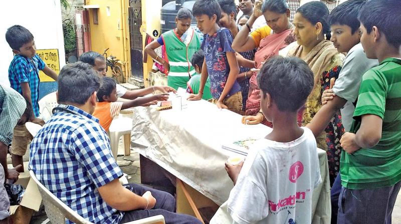 Residents flock to a medical camp in Ramapuram. (Photo: Asian Age)