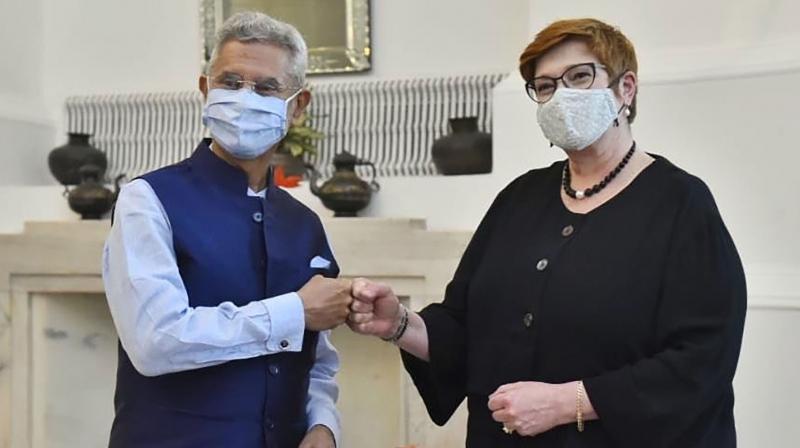 External Affairs Minister S Jaishankar with his Australian counterpart Marise Payne in New Delhi. (PTI)