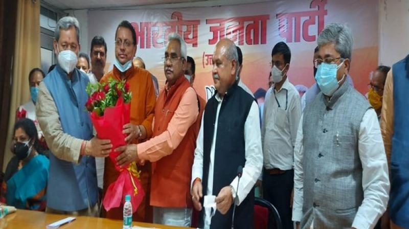 Pushkar Singh Dhami elected as Uttarakhand BJP legislature party leader. (ANI Photo)