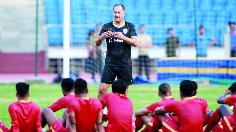 Indian football team coach Igor Stimac with Indian team probables squad for the Intercontinental Cup.