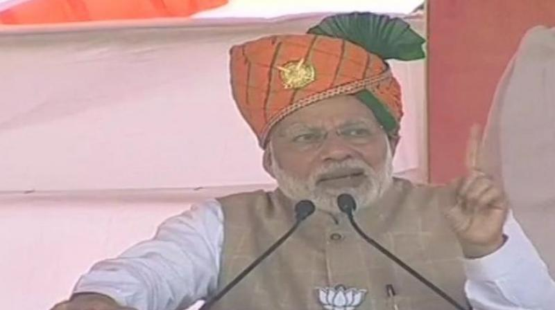 The PM urged people to vote for the BJP in Rajasthan to maintain the speed of development in the state. (Photo: ANI | Twitter)