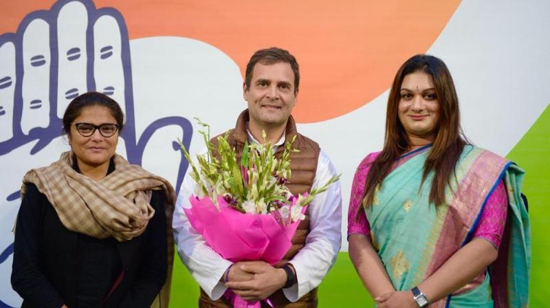 Apsara Reddy was inducted into the party in the presence of Rahul Gandhi and Lok Sabha MP and AIMC president Sushmita Dev on Tuesday. (Photo: Twitter | @INCIndia)