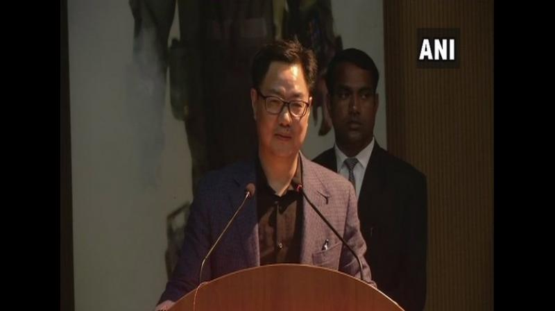 Union Minister of State for Home Affairs Kiren Rijiju addressing inauguration of the 19th International seminar on Synergized response to the emerging IED and terrorist threats organised by NSG in Gurugram on Wednesday. (Photo: ANI)