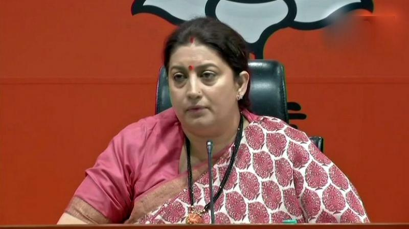 Smriti Irani accused Rahul Gandhi of setting up a not-for-profit company, Young Indians, which then bought a commercial company, Associated Journals Ltd, and its debts worth Rs 90 crore for Rs 50 lakh. (Photo: Twitter | ANI)