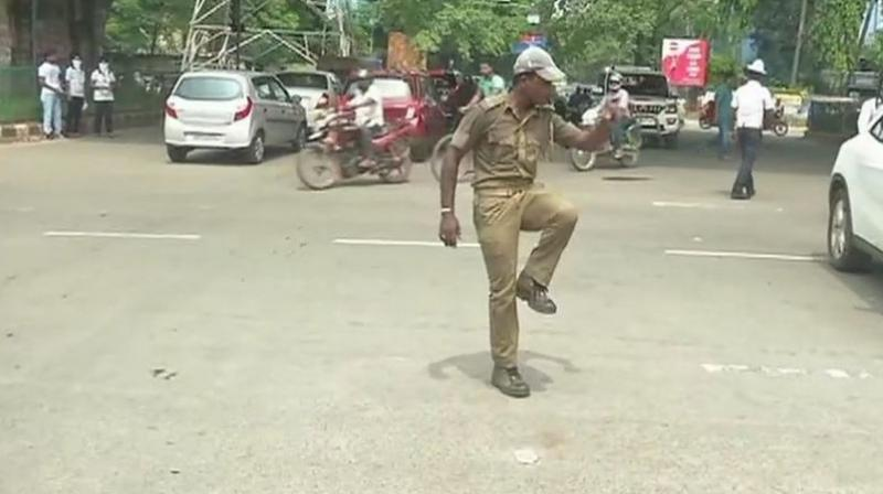 Traffic cop Pratap Chandra Khandwal said he created the moves through experience and practice. (Photo: Twitter | ANI)
