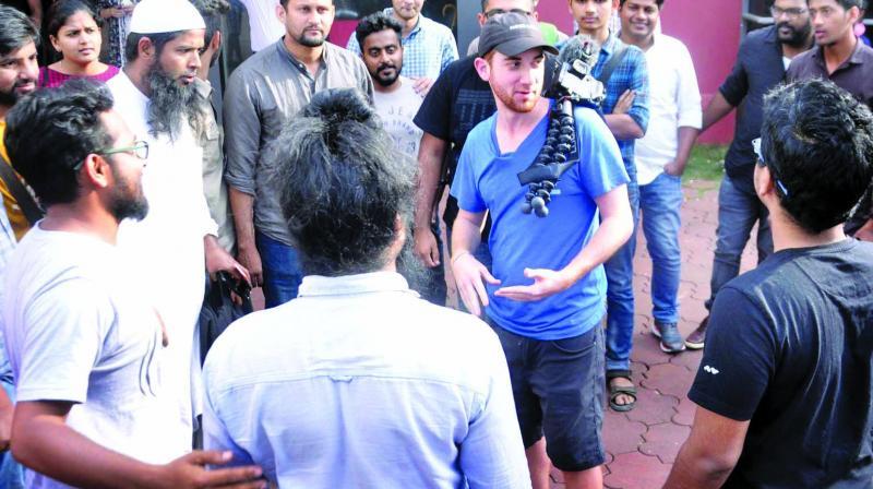 Drew interacts with his followers in Kochi. (Photo: Sunoj Ninan Mathew)