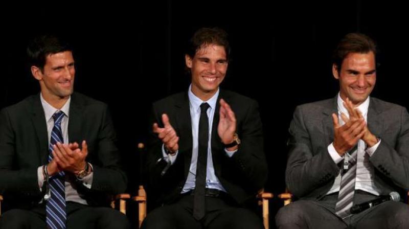 Novak Djokovic, Rafael Nadal and Roger Federer. Twitter Photo