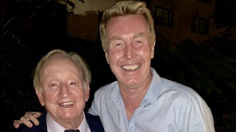 Former Australian player Mark Woodforde (R) with tennis legend Rod Laver. Twitter Photo