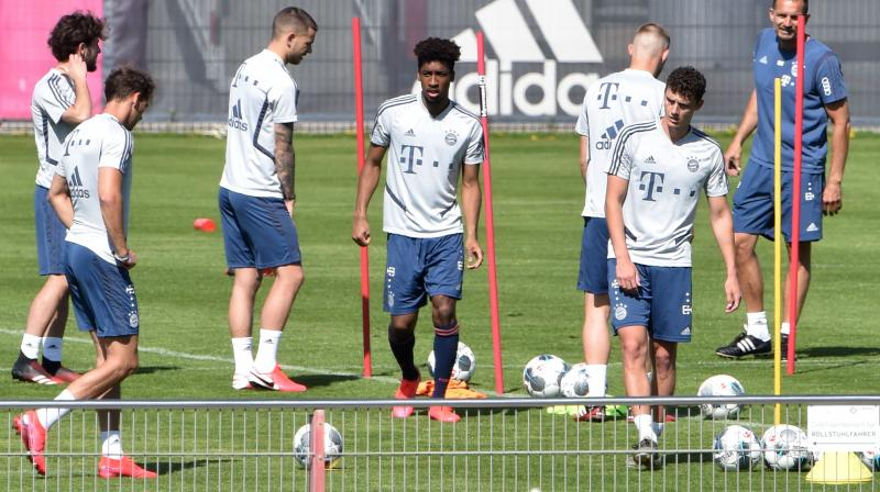 Bayern Munich players attend a training session at the team's training grounds in Munich, southern Germany, on April 16. AFP Photo
