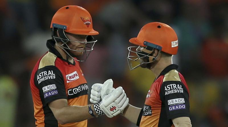 CRACK COMBINATION: Sunrisers Hyderabad's David Warner and Johny Bairstow. AP Photo