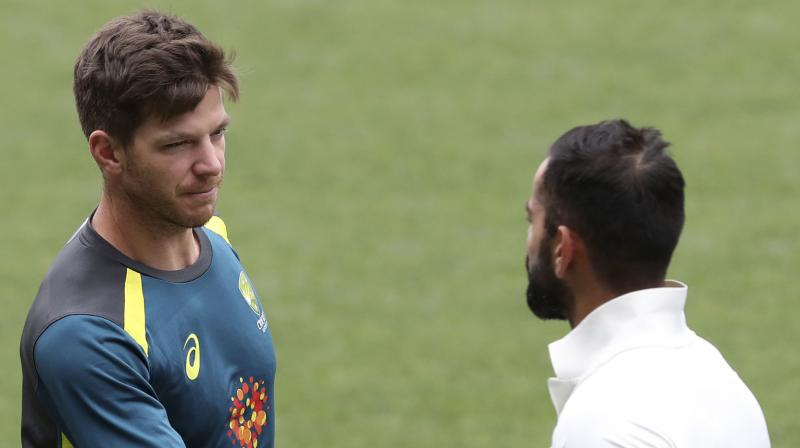 Rival captains Tim Paine and Virat Kohli when India visited Australia two years ago. AP Photo