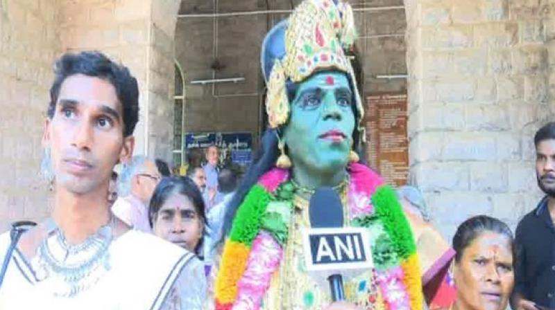 Kannamma was accompanied by two persons dressed like people belonging to the Muslim and Christian communities. (Photo: ANI)