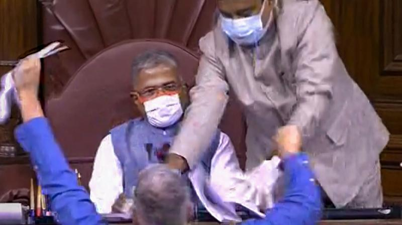 TMC MP Derek O'Brien attempts to tear the rule book as ruckus erupts in the Rajya Sabha over agriculture related bills, during the ongoing Monsoon Session, at Parliament House in New Delhi. — PTI photo