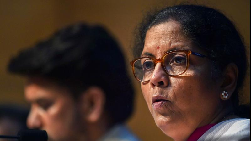 Union Finance Minister Nirmala Sitharaman addresses the fourth part of her press conference on the economic stimulus package announced by Prime Minister Narendra Modi, at the National Media Centre, in New Delhi. PTI Photo