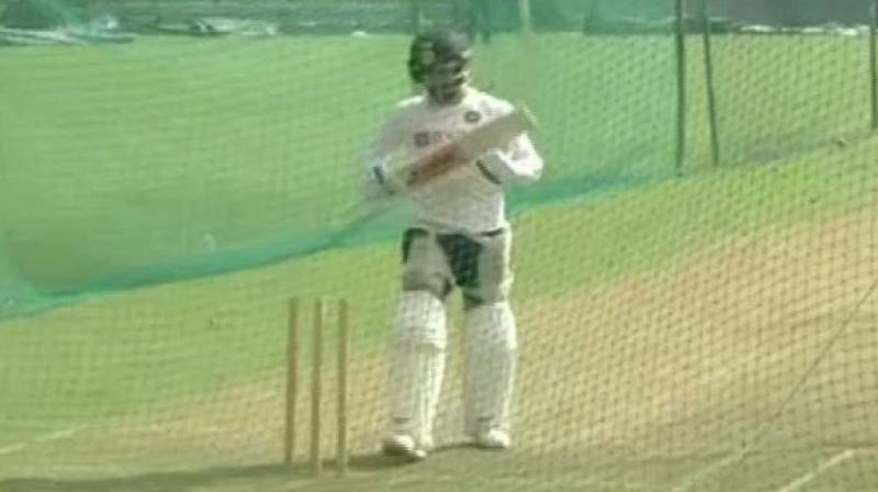 Indian cricket team was seen practising with a pink ball here on Monday ahead of their first Test match against Bangladesh. (Photo:ANI)