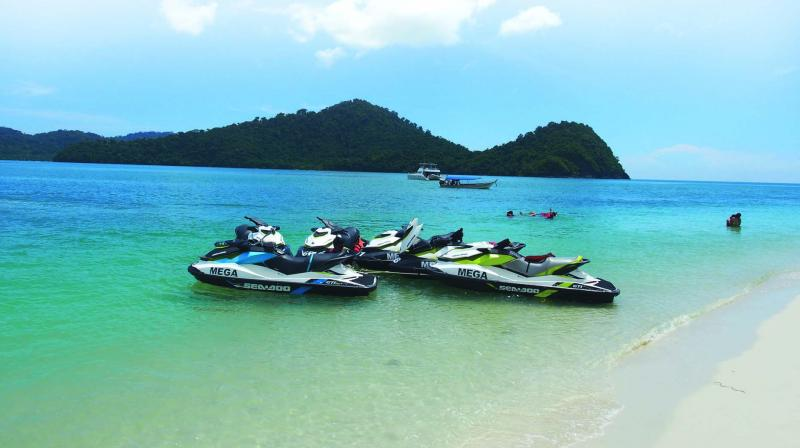 Jet skis on the shore of Langkawi's main island