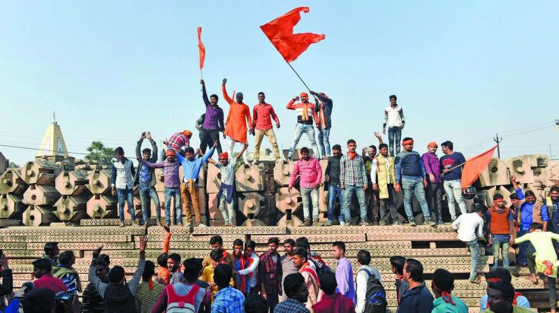 The Ayodhya issue's return to public discourse with a roar in recent weeks is paradoxical given the setback to the Hindutva movement in the wake of the demolition. (Photo: PTI)