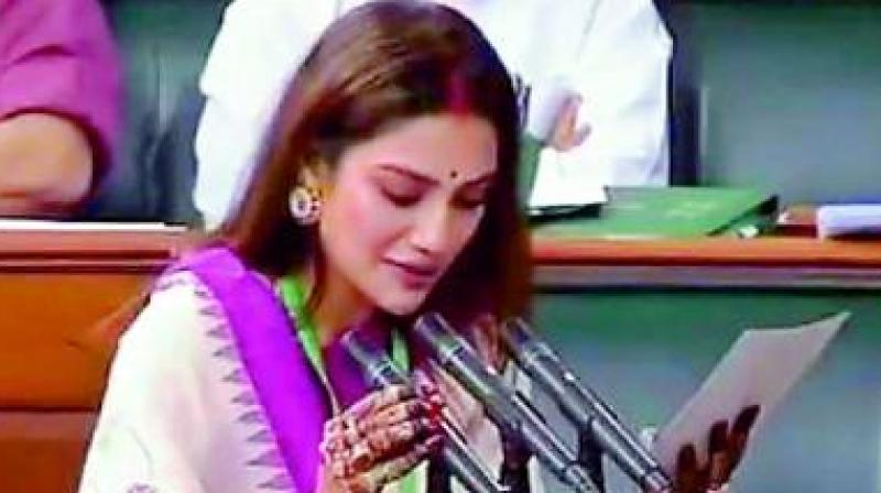 Jahan, who got married to a Kolkata-based businessman and was heavily trolled for wearing vermilion and sporting a 'mangalsutra' at her oath-taking ceremony.(Photo: File)