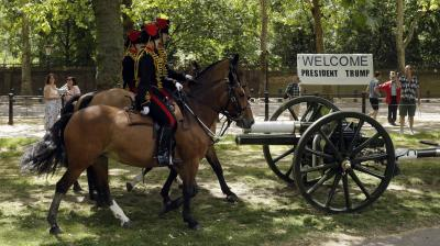 The King's Troop Royal Horse Artillery fire a 41-gun salute to welcome US President Donald Trump. (Photo: AP/Tim Ireland)